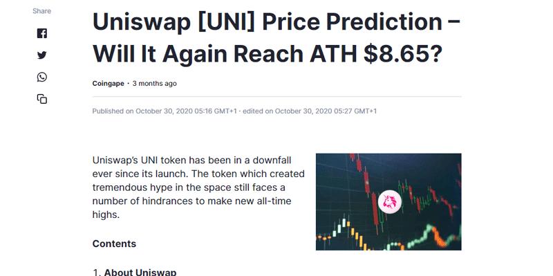 Coinmarketcap-UNI-token-price-prediction
