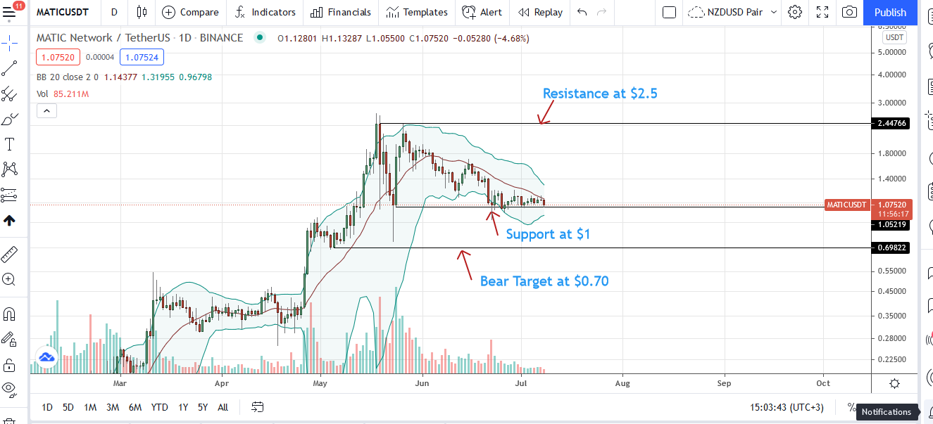 Polygon Price Daily Chart for July 8