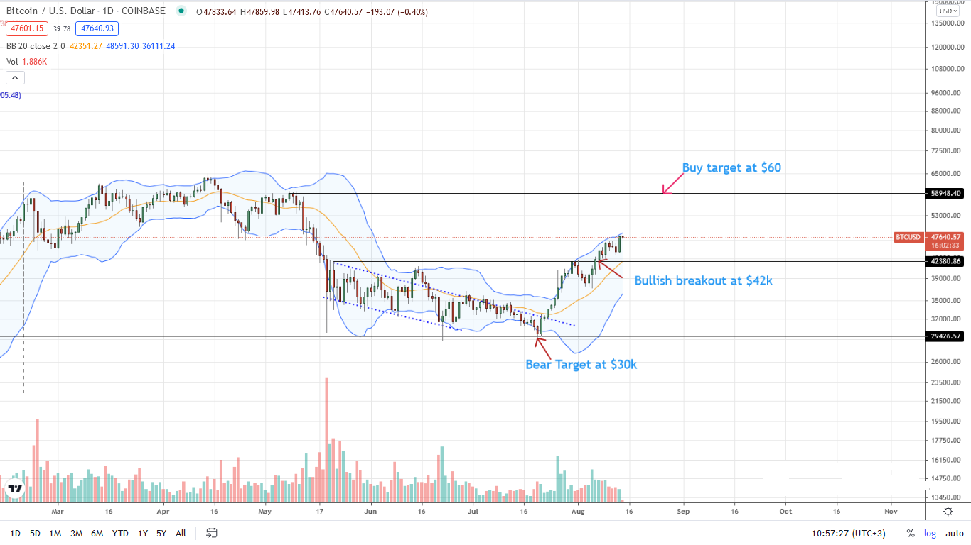 Bitcoin Price Daily Chart for Aug 14