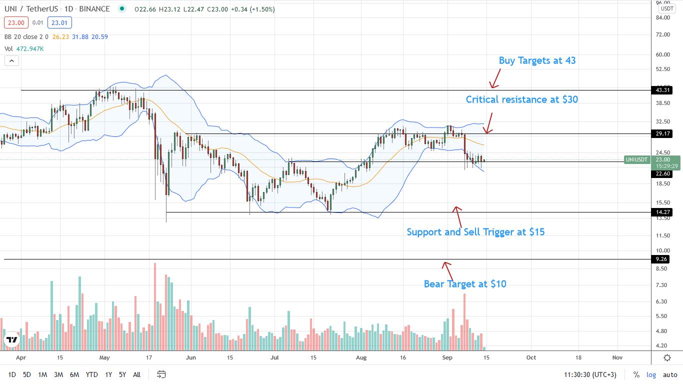 Uniswap Price Daily Chart for September 14